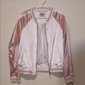 Pink and White Bomber Jacket